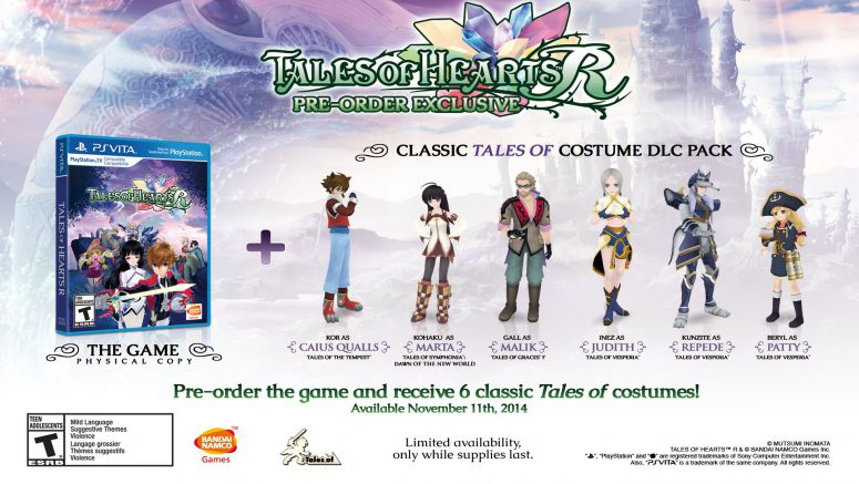 Sony : Tales of Hearts R Out 11/11 on PS Vita & PSTV, Pre-order Detailed