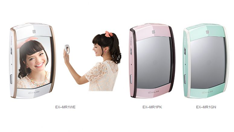 Casio EX–MR1 digital camera lets user to check appearance in the mirror while taking a selfie