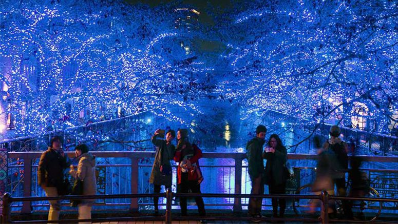 400,000 LED lights recreate Italy's famous 'Blue Grotto' along Tokyo's Meguro river