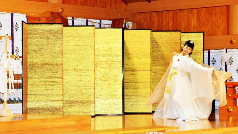 Traditional silk-covered folding screen from Gunma dedicated to marriage of Princess Noriko