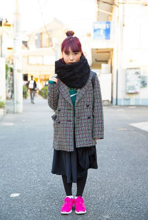 Magenta Hair, Mary Quant Jacket, Comme des Garcons & Nike Sneakers