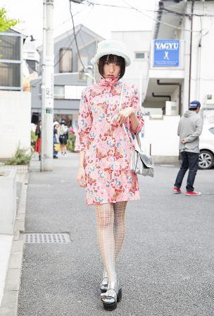 Mitake's Butterfly Print Dress, Silver Bag & Silver Sandals in Harajuku