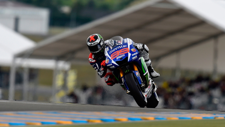 Yamaha MotoGP : Lorenzo Demonstrates Pace at Damp Le Mans France 2015