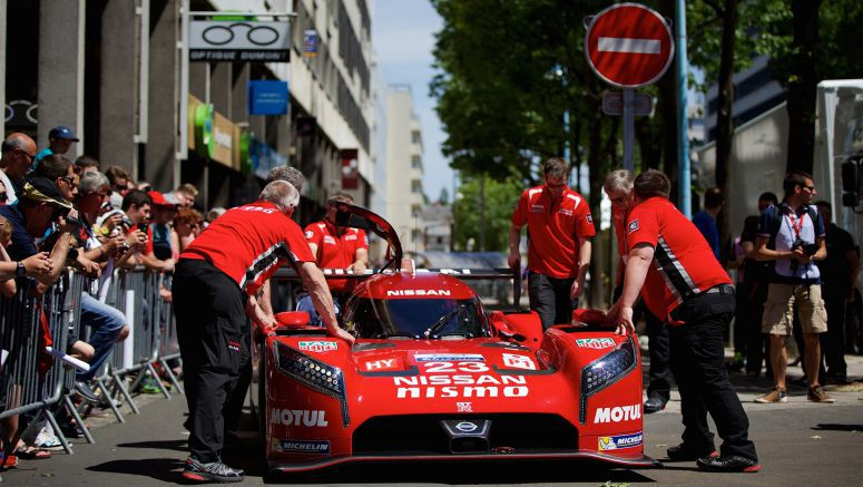 No.23 Nissan GT-R LM NISMO goes through scrutineering ahead of the 2015 Le Mans 24 Hours
