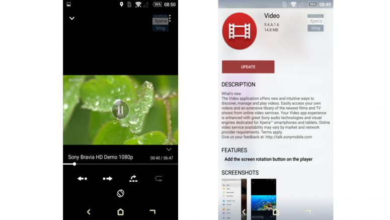Sony : Video update app (9.4.A.1.6) adds screen rotation button to player