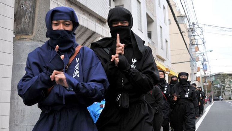 Ninja squad parades in plain sight for Tokyo promotional tour