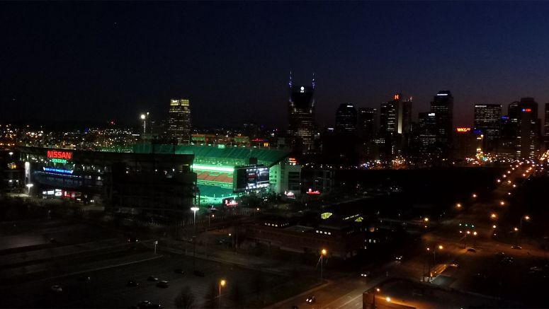 Nissan Stadium turns green for St. Patrick's Day