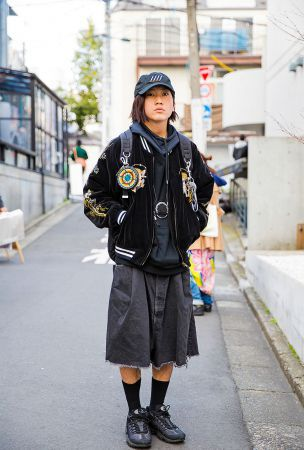 Harajuku Guy in Dragon Sukajan, TTT_MSW Hoodie, Hiro Pants and Nike Sneakers