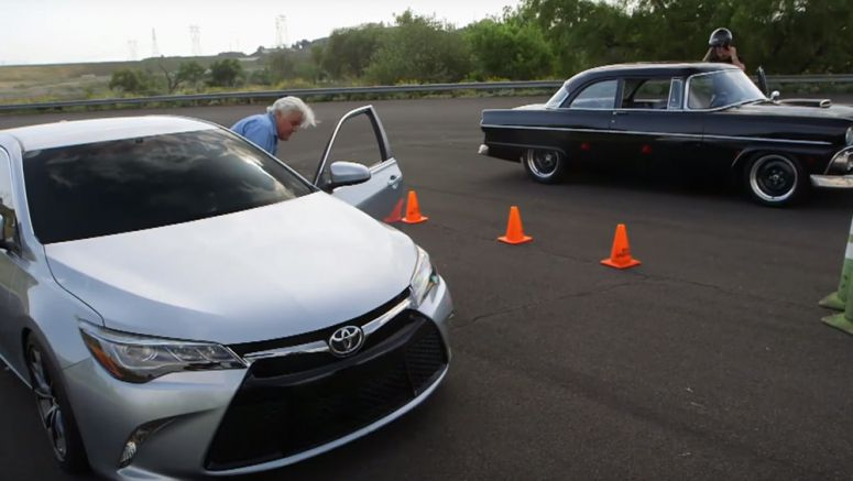 Jay Leno races an 850-hp Toyota Camry against Tim Allen's Ford