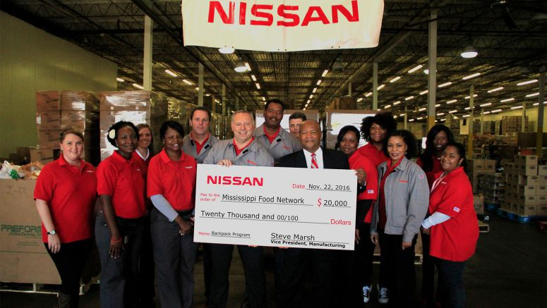 Nissan donates $20,000, conducts volunteer day for Mississippi Food Network's BackPack Program