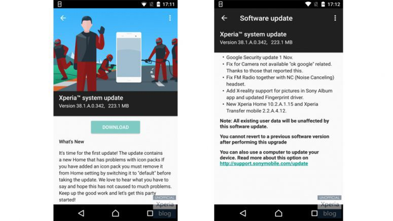 Sony: Xperia X Nougat Concept receives first update (38.1.A.0.342)