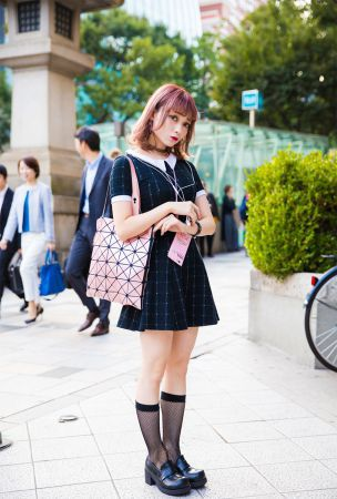Harajuku Girl w/ Pink Hair in Peter Pan Dress & Spinns Accessories