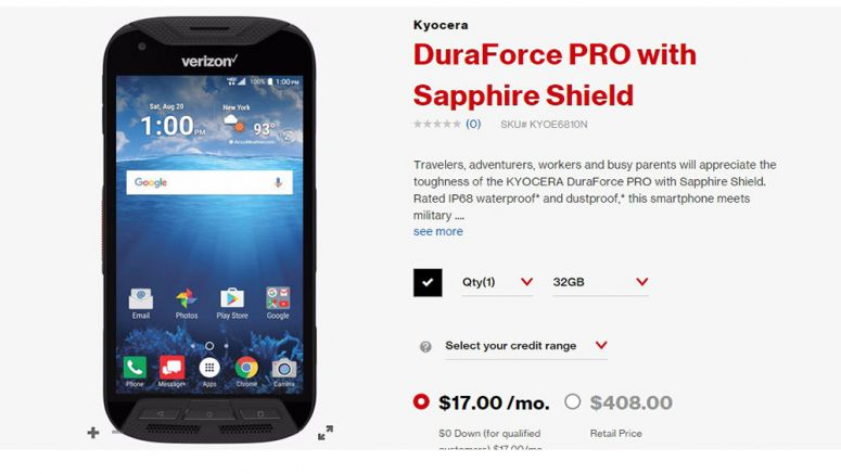 Kyocera DuraForce Pro with Sapphire Shield Goes Official at Verizon