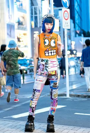 Blue-haired Girl with Jeremy Scott, Moschino, Michiko London & Demonia