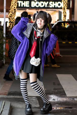 Japanese Sailor Dress, Monster Hoodie, Demonia Platforms & Panda Backpack