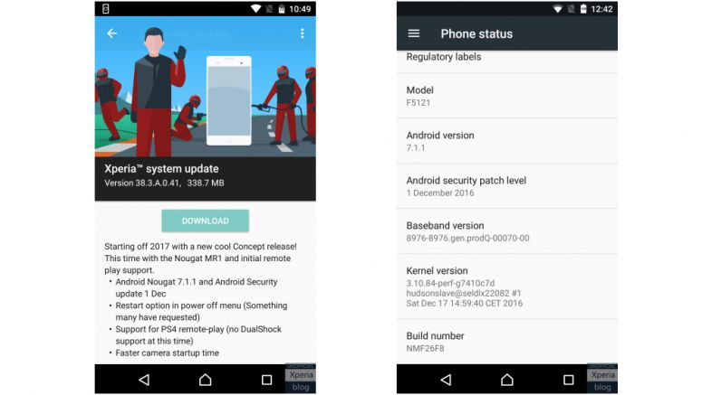 Sony: Xperia X Concept receives Android 7.1.1 update (38.3.A.0.41)