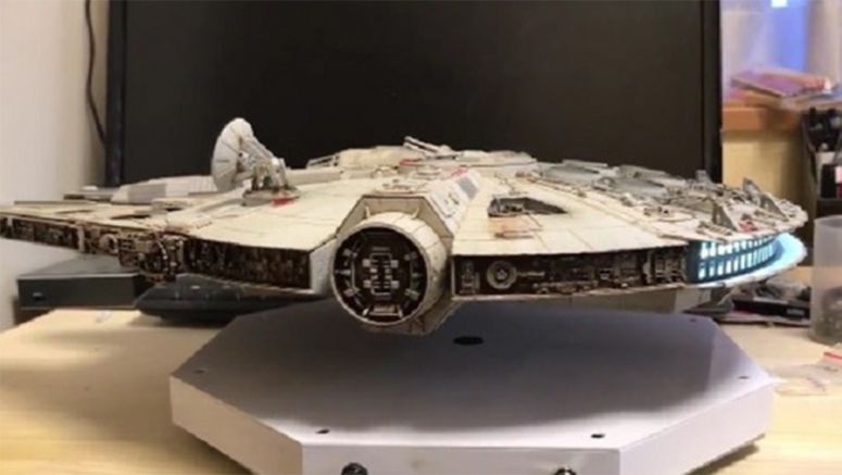 Advanced Levitating Millennium Falcon model created by ardent Japanese Star Wars fan