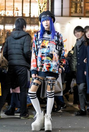 DVMVGE, Devilish & KTZ Fashion with Blue Hair on the Street