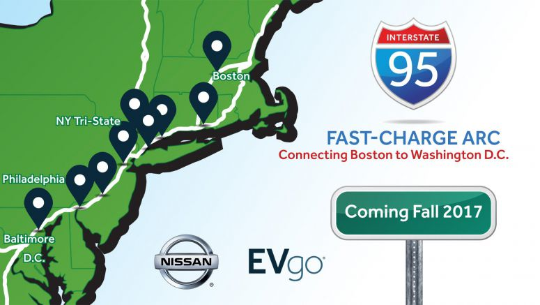 Nissan partners with EVgo to build 'I-95 Fast-Charge ARC'