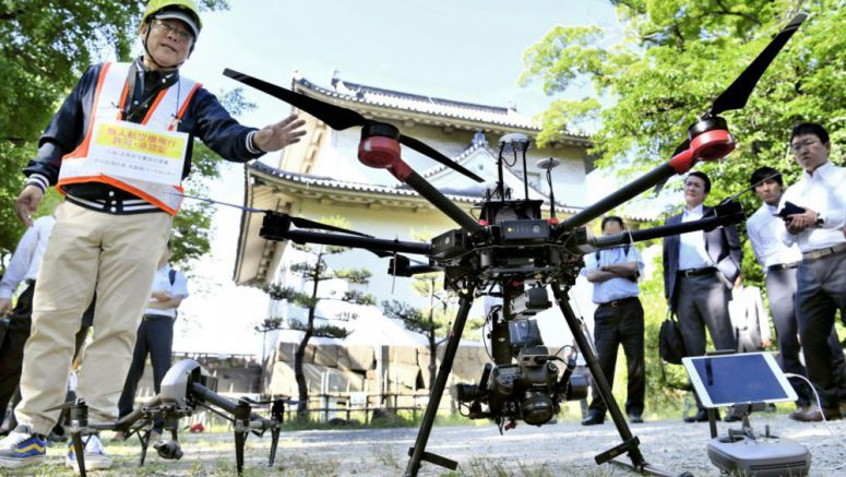 Drone used to capture images of Osaka Castle turret for repair