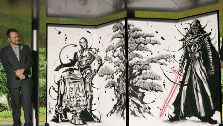 Star Wars-themed folding screen displayed at Kyoto temple