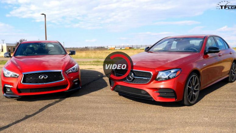 Mercedes-AMG E43 And Infiniti Q50 Red Sport Get Together To See Which One's Faster