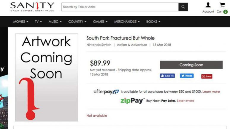 Australian Retailer Lists South Park For The Nintendo Switch