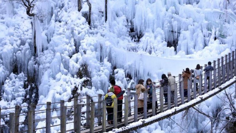 Massive ice columns artificially created in Onouchi Ravine in Ogano, Saitama