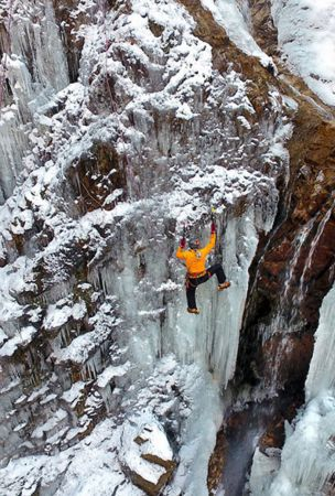 Freezing temperatures have turned an approximately 25-meter-tall waterfall nestled halfway in Mount Rokkosan into a still ice chandelier