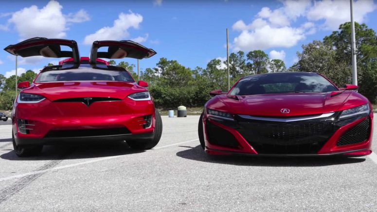 Tesla Model X Takes On Acura NSX In Ultra High-Tech Drag Race