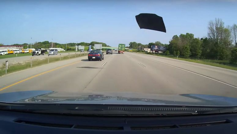 Hood Flies Off Toyota Camry, Almost Strikes Dash Cam Car And A Jeep