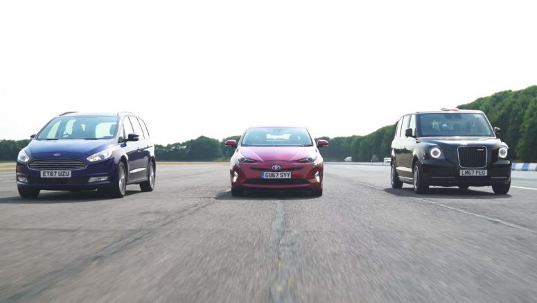 Electrified London Black Cab Challenges Toyota Prius And Ford Galaxy Into A Drag Race