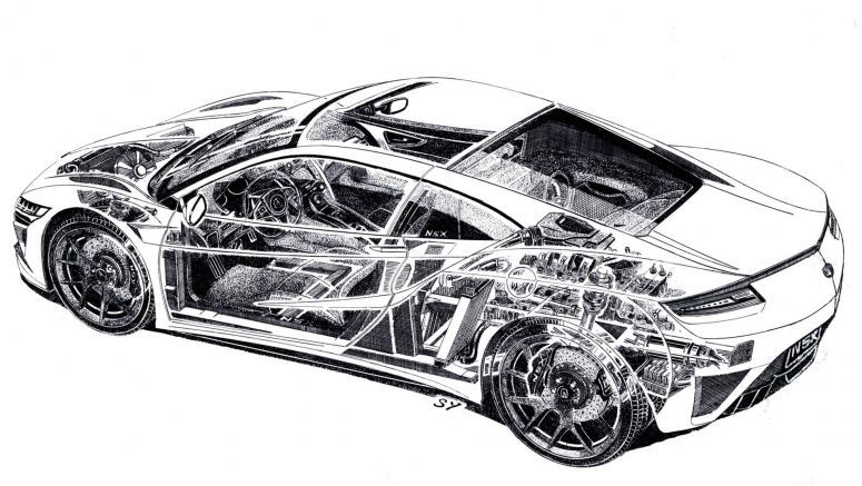 Acura NSX Cutaway Sketch Is Pure Electro-Mechanical Porn