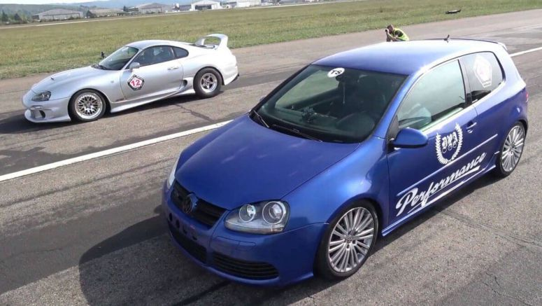 Toyota Supra Vs. VW Golf R32 Is An Epic 2,000 HP Battle