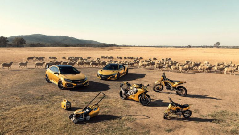 Honda made gold NSX, Civic Type R, lawnmower, generator for its 50th anniversary in Australia