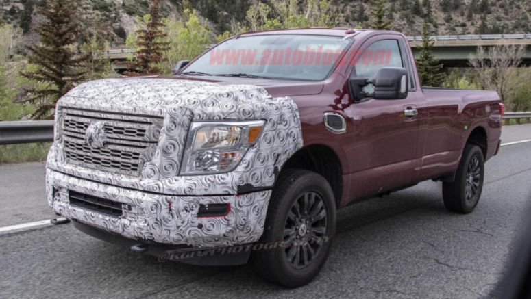 2020 Nissan Titan XD spied with new grille and minimal camo