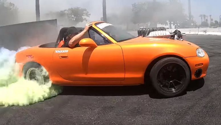 Hellcat-Powered Mazda Miata Does Burnouts In Sixth Gear Without Breaking A Sweat