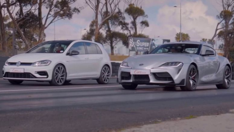 2020 Toyota Supra And VW Golf R Engage In Drag War