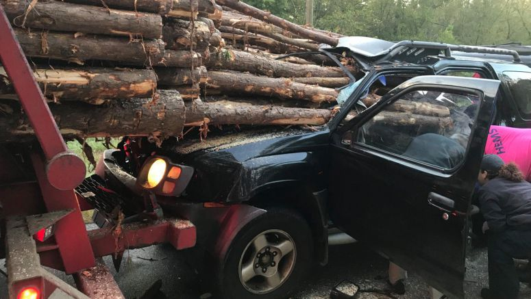 Nissan Xterra Owner Almost Reaches Their Final Destination After Rear-Ending A Logging Truck