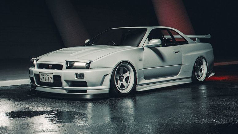 R34 Nissan Skyline GT-R Imagined With Pop-Up Headlights Answers A Question No One Asked