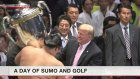 Trump presents trophy at sumo tournament