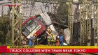 Truck collides with train in Yokohama