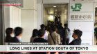Typhoon-hit railway station near Tokyo congested