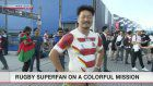 Rugby superfan on a colorful mission