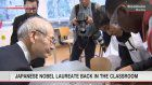 Nobel laureate Yoshino visits Swedish school