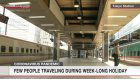 Few travelers seen at start of week-long holiday