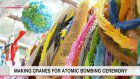 Paper cranes being made in Hiroshima