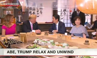 Trump watches sumo, has dinner with Abe