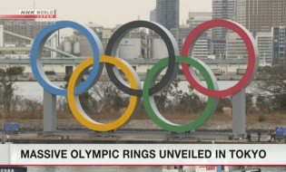 Olympic symbol monument unveiled in Tokyo Bay