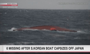 Search finds 3 of 9 crew of capsized S.Korean boat